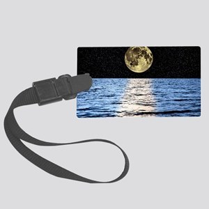 Moon over the sea, composite ima Large Luggage Tag